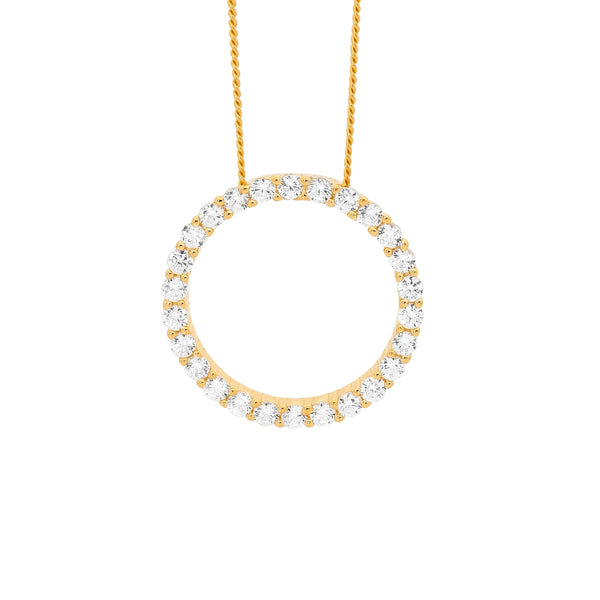 SS 20MM CIRCLE WH CZ PENDANT W/ GOLD PLATING