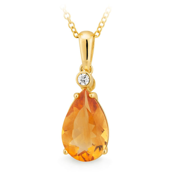 9K YELLOW GOLD PENDANT 1* CITRINE PEAR CLAW SET DIA 1* 0.4CT SI3 JK BEZ PALIN BAIL