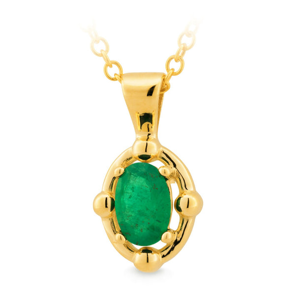 9K YELLOW GOLD PENDANT EMERALD OVAL 4 CLAW OVAL OUTER