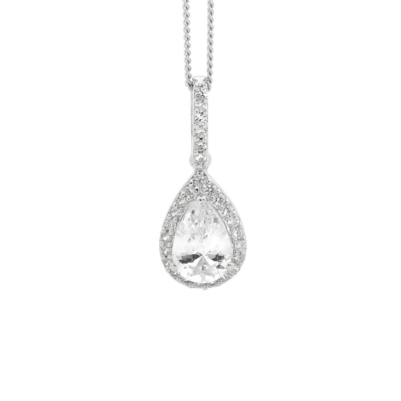 Ellani Stg Silver RED CZ PEAR DROP PENDANT W/ CZ SURROUND