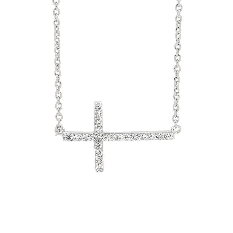 ELLANI STG SILVER WHTIE CZ Cross Pendant w/ Attached Chain