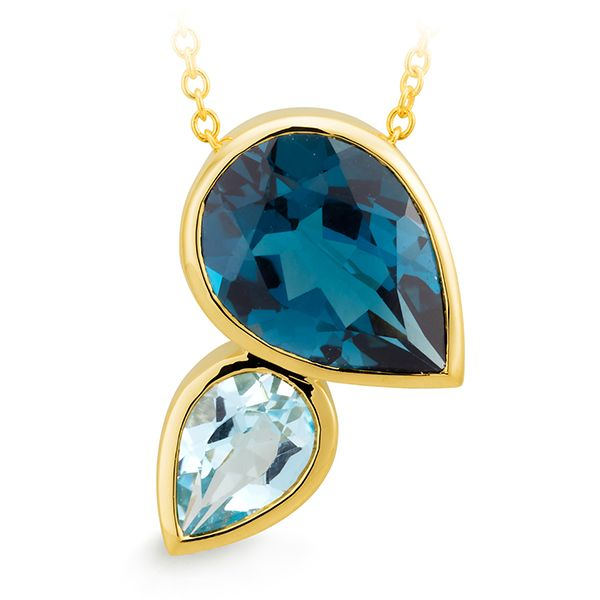 9K YELLOW GOLD PENDANT SLIDER 1* BLUE TOPAZ PEAR BEZEL