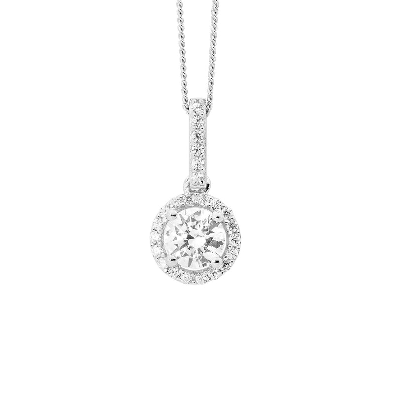 ELLANI STG SILVER 6MM ROUND WH CZ DROP PENDANT W/ WH CZ SURROUND