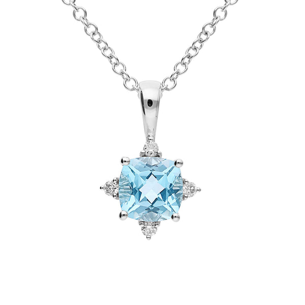9K WG PENDANT 1*BLUE TOPAZ 6MM CUSHION CLAW SET DIA 4= 0.06CT SI3 JKL BEAD SET BAIL & DROP