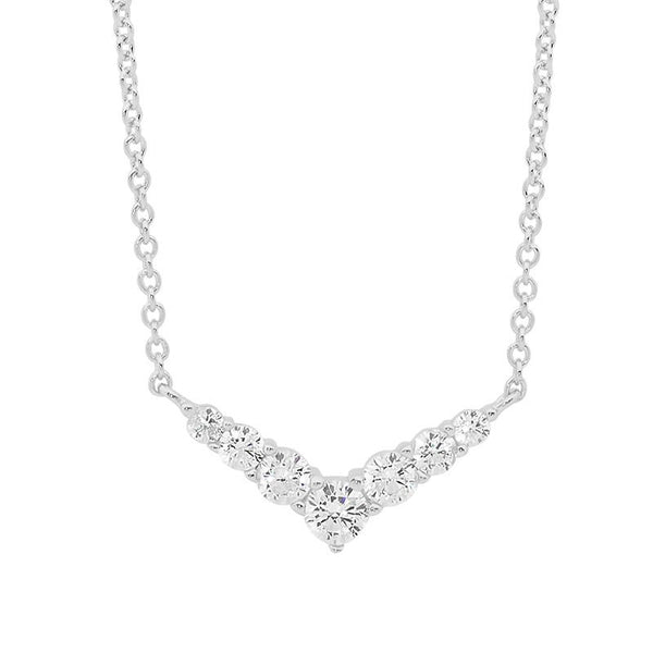 "ELLANI STG SILVER 7* WH CZ ""V"" PENDANT, ATTACHED CHAIN"