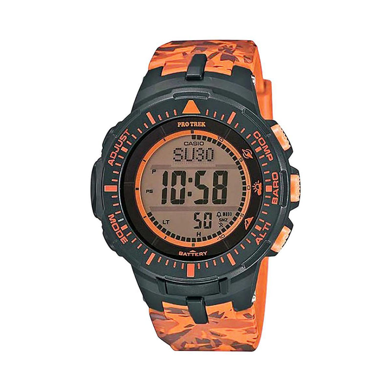 CASIO MENS PROTREK CAMO ORANGE TRIPLE SENSOR, RESIN