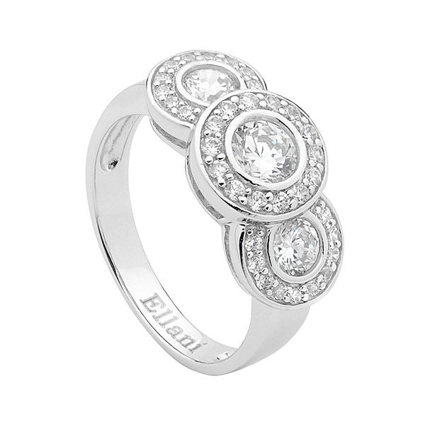 ELLANI STG SILVER TRIPLE ROUND WH CZ W/PAVE SURROUND RING