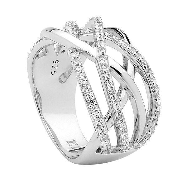 ELLANI STG SILVER WIDE BAND CROSS OVER RING W/ WH CZ
