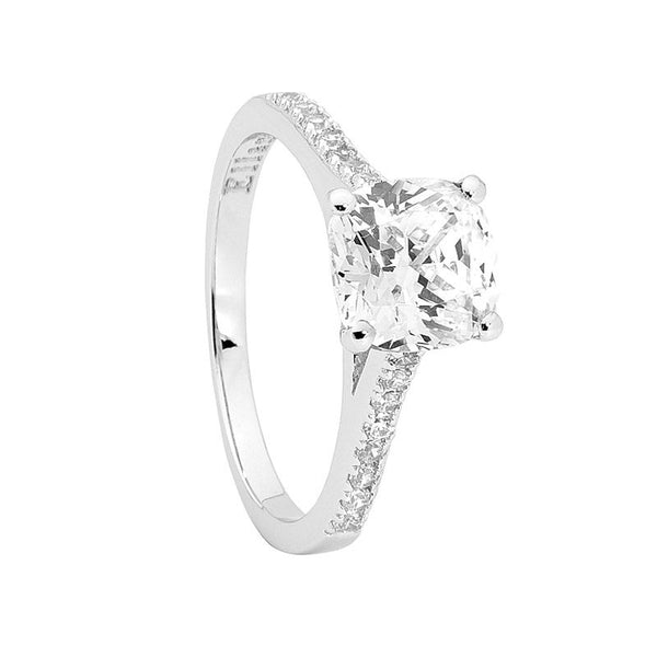 ELLANI STG SILVER WHITE CZ SOLITAIR RING WITH CZ SHOULDERS