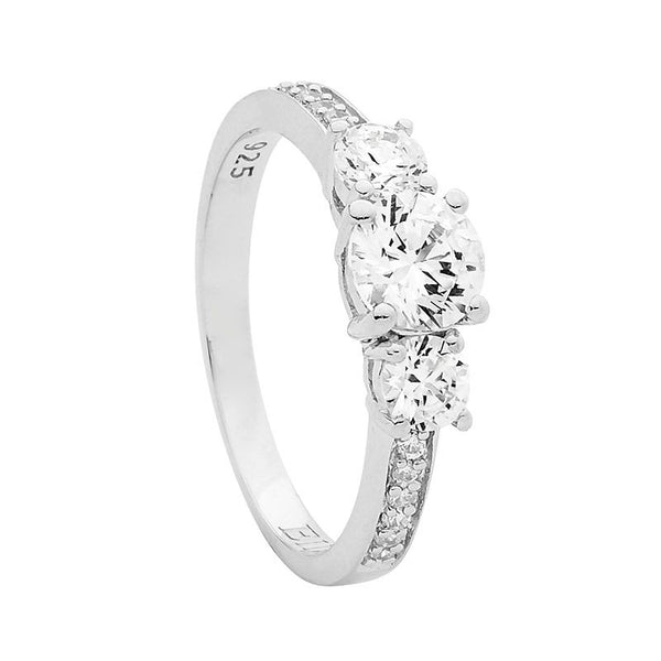 ELLANI STG SILVER 3X ROUND WHITE CZ CLAW SET WITH CZ BAND RING