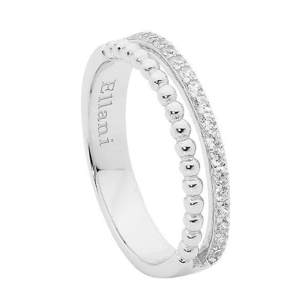 ELLANI STG SILVER WH CZ & BUBBLE SPLIT BAND RING