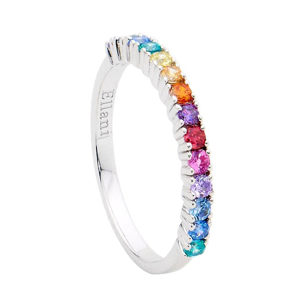 ELLANI STG SILVER MULTI COLOUR CZ RING