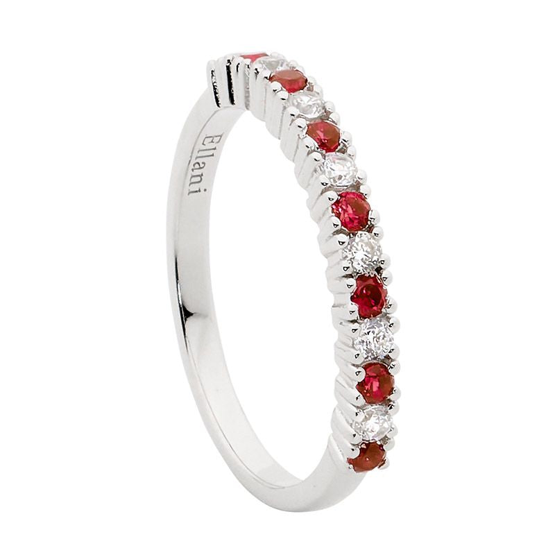 ELLANI STG SILVER SINGLE ROW WHITE & RED CZ RING