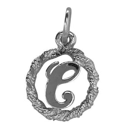 Traditional Silver Charm Initial C in Circle
