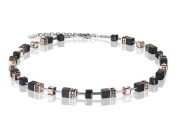Coeur De Lion CL NECKLACE Geo Cube rose gold and onyx