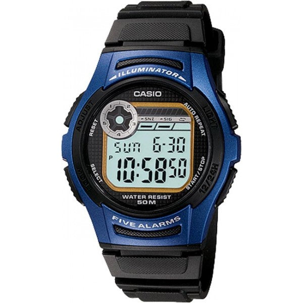 Casio Mens 50M Digital Watch (5 Alarms)
