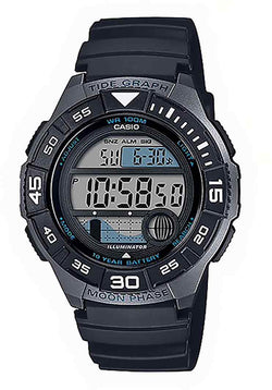 CASIO MENS MARINE DIGITAL TIDE, S/W, ALARM, 100M BLK FACE & RESIN BAND