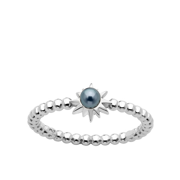 Karen Walker Stg Silver Temptation Ring with Dyed Pearl