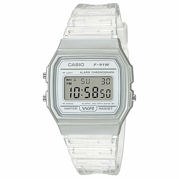 CASIO MENS WATCH DIGITAL WATCH WR, SW,  LED LIGHT , ALARM WHITE TRASLUSCENT