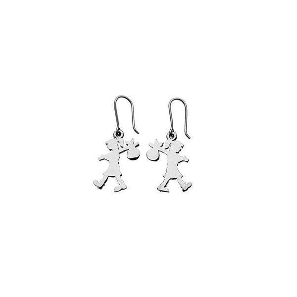 KAREN WALKER STG SILVER RUNAWAY GIRL EARRINGS