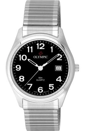 Olympic Mens Watch Steel Classic Watch Black Dial