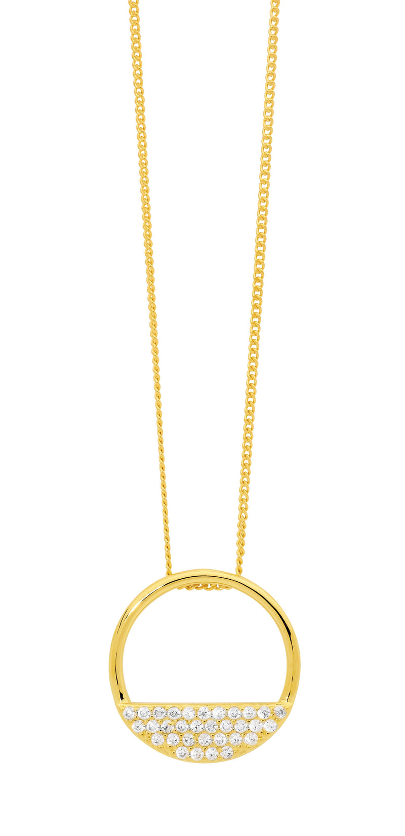 Ellani  Stg Silver 28MM OPEN CIRCLE PENDANT, 3 ROWS WH CZ W/ GOLD PLATING
