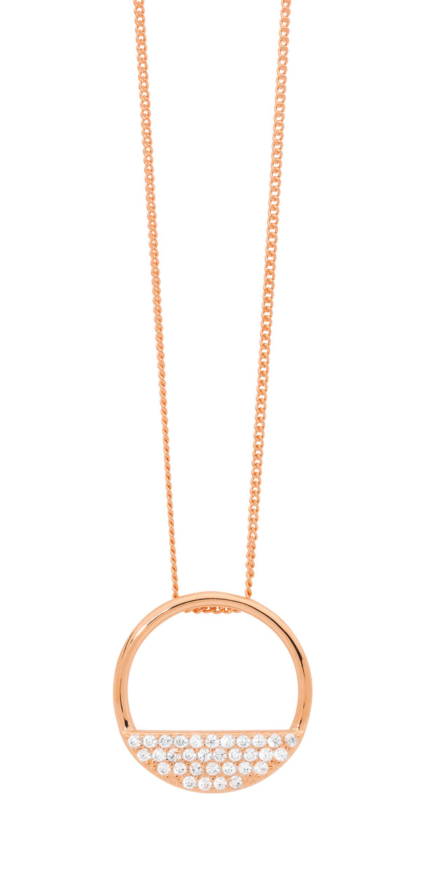 Ellani  Stg Silver 28MM OPEN CIRCLE PENDANT, 3 ROWS WH CZ W/ ROSE GOLD PLATING