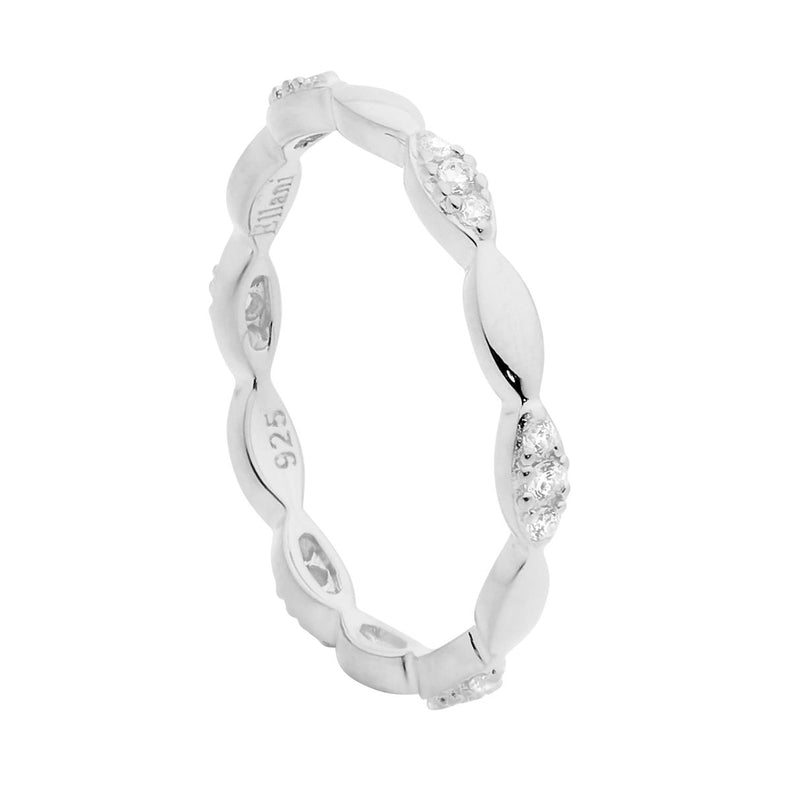 ELLANI STG SILVER TEAR SHAPE STACKER RING W/WH CZ