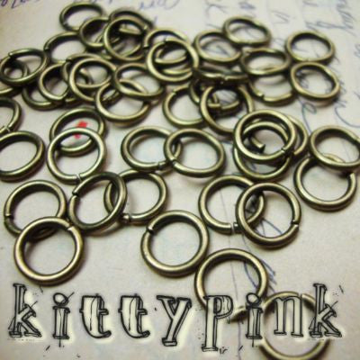 100 OPEN JUMPRING jump ring Findings Silver plated Bronze 6-8mm Gold