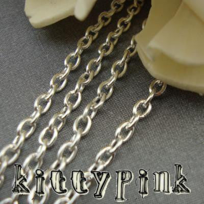UK 5 Metres Silver Jewellery Link//Trace Necklace Pendant Chain 3mm x 2mm approx