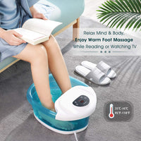MaxKare Foot Spa Bath Bucket Massager with Heat Bubble Vibration 3 in 1 Function, 4 Massaging Rollers Pedicure Soak Stress Relief Help Sleep Home Use