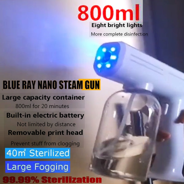 800ML 1300W Blue Light Nano Steam Gun Atomizing Fogger Disinfection-Sprayer Gun Wireless Nano Mixed Vapor Nano Spray Machine