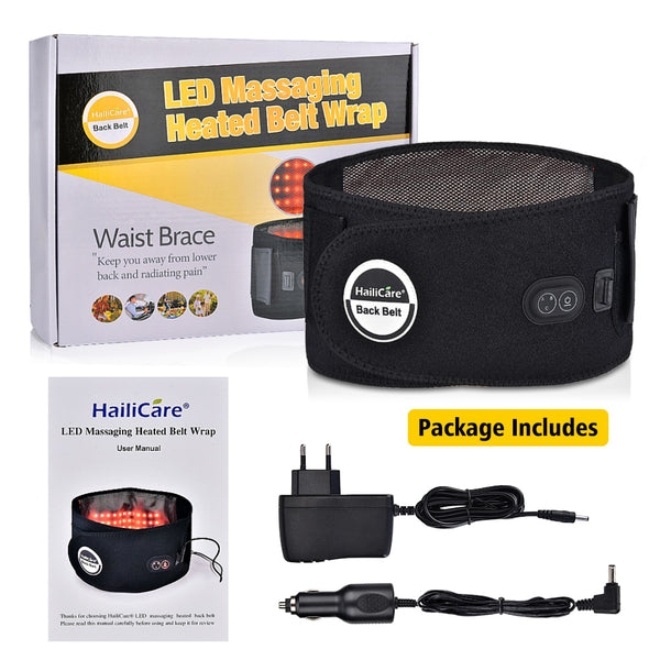 Back Massager Heated Therapy Massage Low Back Belt Pain Relief Brace Support Massager