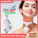 3 Colors Led Facial Neck Massager Led Photon Therapy Heating  Face Neck Wrinkle Removal Machine Reduce Double Chin Skin Lifting