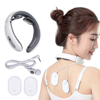 Electric Pulse Back and Neck Massager Far Infrared Heating Cervical Vertebra Treatment Pain Relief Tool Health Care Relaxation