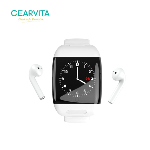 Smart Watch with TWS true Wireless Bluetooth Earphone music Earbud Heart rate Blood Pressure
