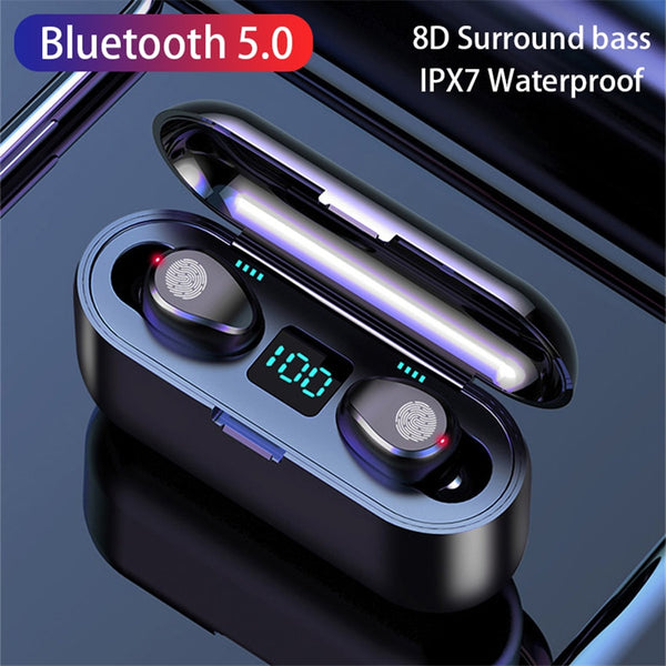 Wireless V5.0 Bluetooth Earphone HD Stereo Headphone Sports Waterproof Headset With Dual Mic and 2000mAh Battery Charge Case