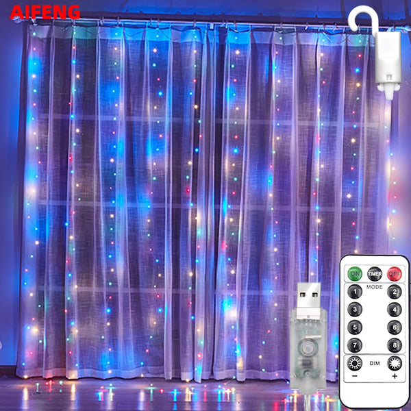 Christmas Holiday LED Decoration Lights Fairy Bedroom String Garland Remote Lighting Curtain Lights With Remote Control