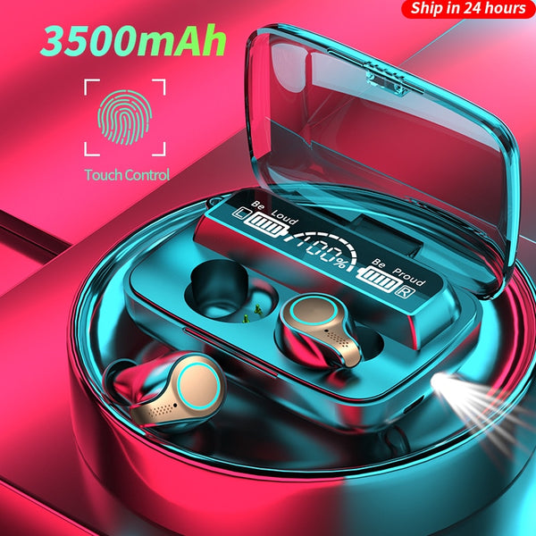 New 3500 mAh Wireless Headphones Bluetooth Earphone LED Display Sports Waterproof Earbuds HiFi Stereo Headset With Microphones