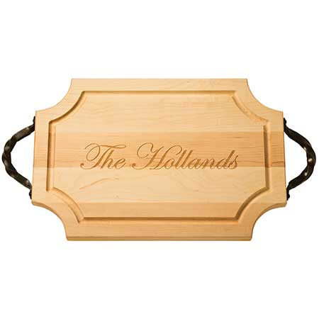 Customizable wooden board with handles