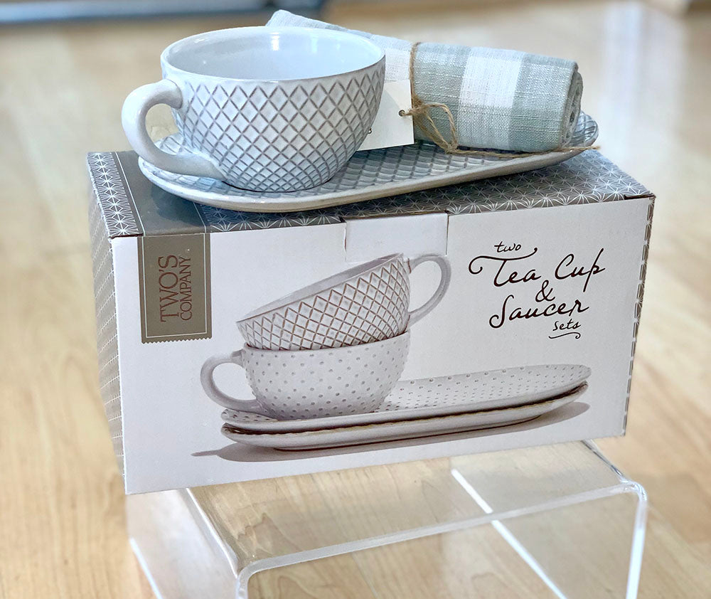 Patterned Teacup and Saucer Set