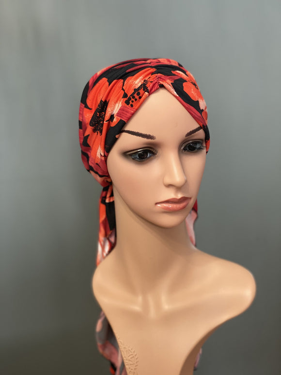HALO HEAD WRAPS - RED HAWAIIAN PRINT FRONT VIEW