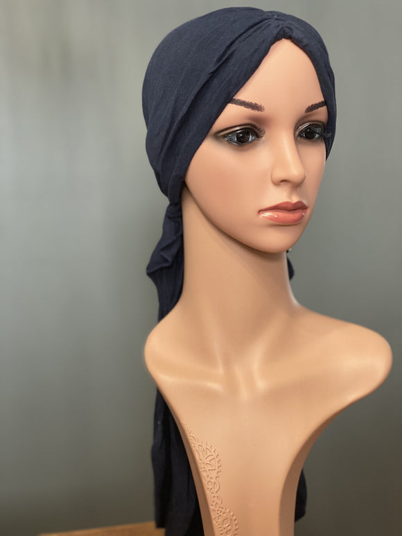 HALO HEAD WRAPS - CHARCOAL GREY SOLID FRONT VIEW