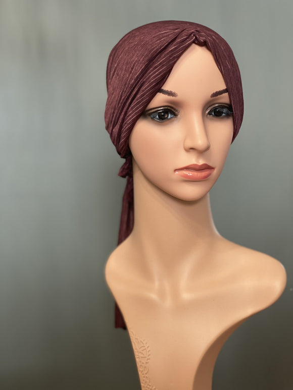 Bamboo Halo Headwrap Striped Burgundy