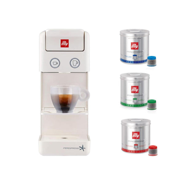 Illy Espresso Machine IPSO Home DA Bundle - White