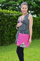 messenger cross body bag pink leather zebra print calf hair