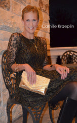 Camille Kraeplin Associate Professor Journalism Faculty SMU evening gold leather clutch Weekender Dallas