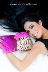 alexandra clutch pleated leather ruffle design calf hair cheetah print fuchsia leather cluch