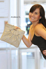 ruched clutch off white leather