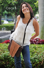 brown caiman crocodile tail cross body clutch bag